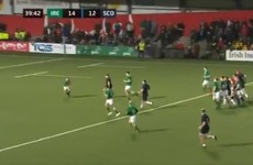 Ireland U20s out-half Crowley runs in solo try from deep inside his own 22'