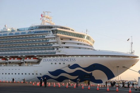 """The """"Diamond Princess"""", a cruise ship which has been kept in quarantine at the port of Yokohama in Japan"""