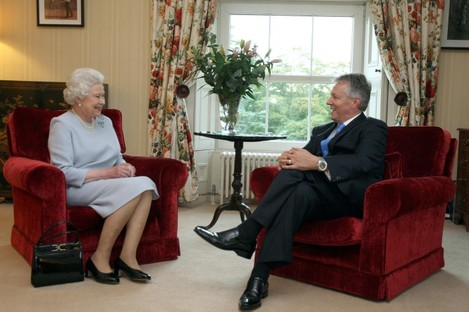 Queen Elizabeth meets First Minister Peter Robinson at Hillsborough Castle during her last trip to Northern Ireland in 2010.