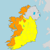 Orange wind warning issued for seven counties from 6am tomorrow