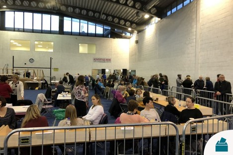 Count centre for the Meath East constituency.