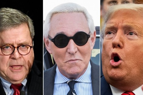 L-R: Attorney General William Barr, Roger Stone, Donald Trump.
