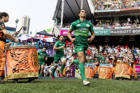 Ireland take to the pitch at the 2019 Hong Kong Sevens.