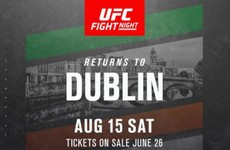 UFC to return to Dublin this August