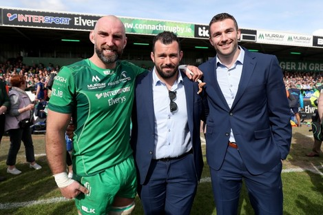 Connacht icons John Muldoon with JP Cooney and Andrew Browne in 2018.