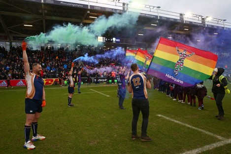 There was an LGBTQ+ theme at Harlequins' clash with London Irish on Saturday.