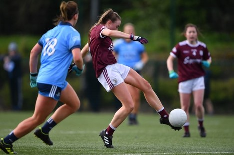 Ailbhe Davoren of Galway scores her side's first goal.