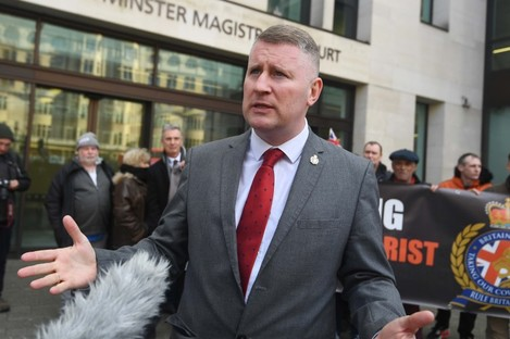 Britain First leader Paul Golding talking to the media outside Westminster Magistrates' Court, London