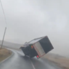 Gardaí at scene of overturned truck in Galway as high winds batter west coast