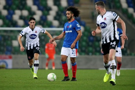Bastien Hery in possession for Linfield during the Unite the Union Champions Cup first leg against Dundalk.