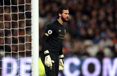 Alisson set to miss Liverpool's clash with Atletico