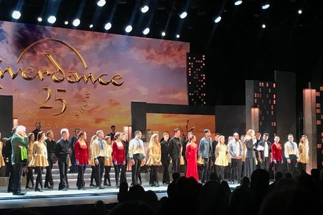 Dancer Jean Butler speaking at the 25th anniversary performance of Riverdance in New York last night.
