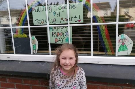 Madison Gardner with her St Patrick's Day artwork.
