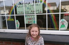 Children have been sharing their St Patrick's Day artwork through window panes