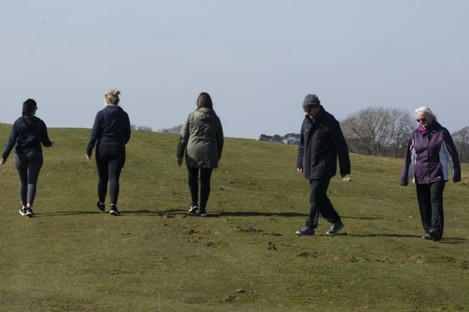 People out walking at the Curragh, Co Kildare.