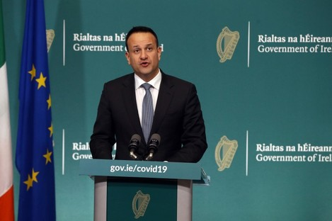 Leo Varadkar making the announcement this afternoon.
