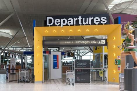 Brisbane Airport departures gate.