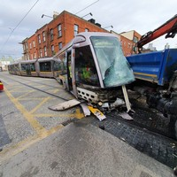 Luas derails after colliding with truck in Dublin city centre