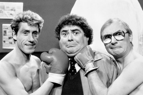 Eddie Large, centre, with Roger Daltrey and comedy partner Syd Little (right).