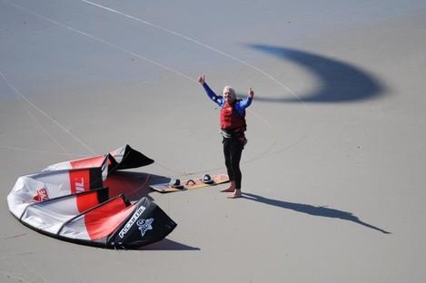 Richard Branson celebrating his record-breaking crossing.