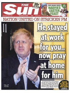'He stayed at work for you. Now pray at home for him': UK papers support Johnson after second night in ICU