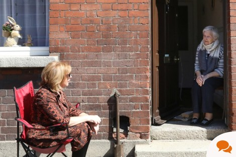 Day 19 of Lockdown. Pictured in Dublin's Liberties today is 91 year-old Francis Farrell, who is cocooning and chatting to her daughter Pauline Corrigan while maintaining social distancing.
