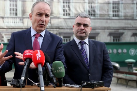Martin and Calleary outside Leinster House.