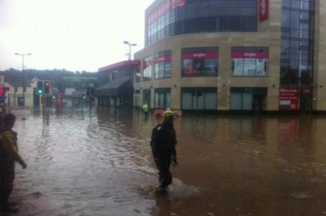 Flooding in the centre of Douglas last Thursday morning