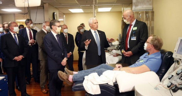 Mike Pence criticised for not wearing face mask in hospital despite all around him doing so