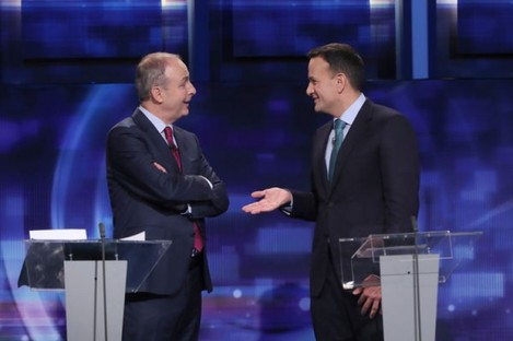 Micheál Martin and Leo Varadkar at a TV leaders' debate during the 2020 general election campaign.