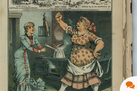 Frederick Opper cartoon on the May 1883 cover of America's Puck magazine, showing an Irish cook raising a fist to her mistress.