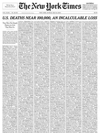 New York Times fills front page with names of 1,000 lives lost to Covid-19