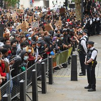 Tensions escalate between police and Black Lives Matter protesters outside 10 Downing Street gates