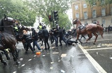 Tensions flare between mounted police and Black Lives Matter protesters in London