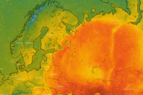 Temperatures reached into the high 20s in large parts of Siberia today