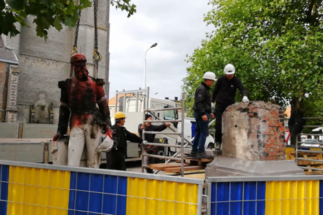 The statue following its removal.