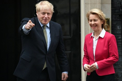 File image: Johnson with von der Leyen at Downing Street.