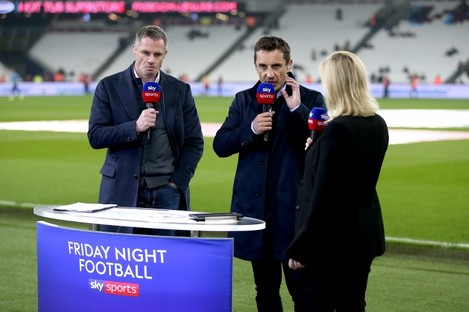File photo of Jamie Carragher, Gary Neville, and Kelly Cates broadcasting for Sky Sports last year. Under the new regulations, they won't be allowed pitchside.