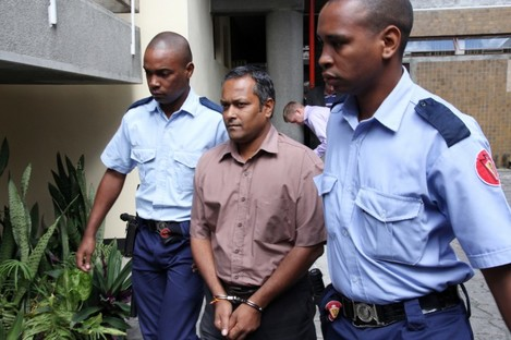 Sandip Moneea being brought to the court