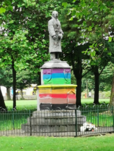 Dublin statue of IRA leader Sean Russell is cleaned after being painted with rainbow colours