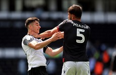 Post-match red cards fly as Rooney penalty keeps pace in Derby's promotion chase