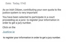 Gardaí warn the public about a fake jury duty scam