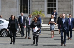Sinn Féin TDs at Leinster House today.