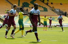 Norwich suffer Premier League relegation as West Ham's Antonio grabs four