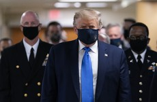 Donald Trump wears a mask in public for the first time