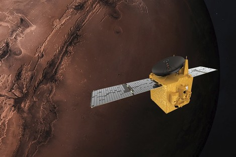 An illustration of the Hope probe.