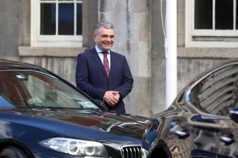 Newly appointed Minister for Agriculture Dara Calleary arriving at Dublin Castle Dublin for a cabinet meeting yesterday.
