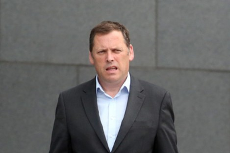 Barry Cowen at teh Convention Centre this afternoon.