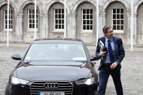 Minister Simon Harris arrives for a Cabinet meeting at Dublin Castle.