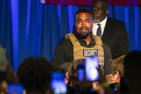 Kanye West pictured at yesterday's rally in South Carolina.